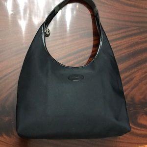 LongChamp Black Nylon & Leather Shoulder Bag